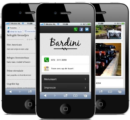 Bardini mobiele website